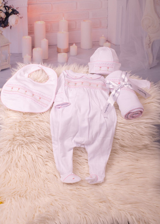 BECKY AND BENS CLASSIC SMOCKED WHITE BABYGROW