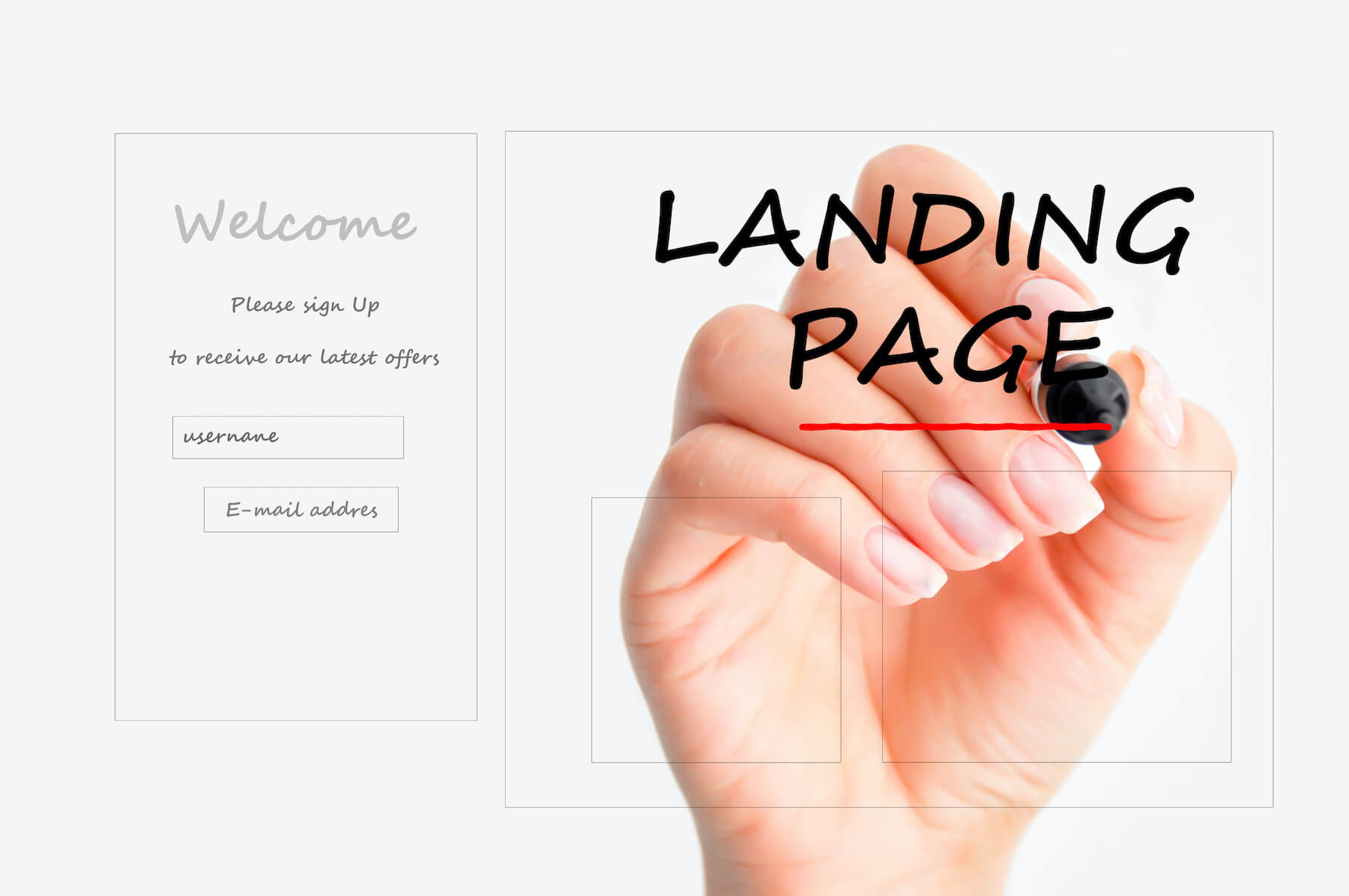 Someone drawing out 3 tips for landing page copy