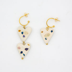 SEA GLASS HEARTS EARRINGS