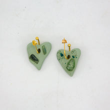 Load image into Gallery viewer, SEA GLASS MINI HEART HOOPS