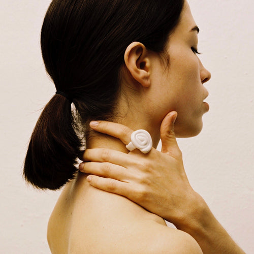 Ring made with porcelain.  Like wearable sculpture, each piece is crafted by hand and will vary slightly.