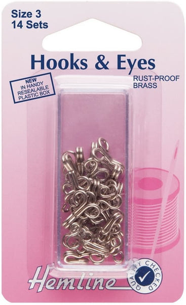 Hemline Hooks & Eyes - Sizes 1, 2 & 3