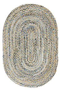 Recycled Denim & Jute Braided Oval Rug