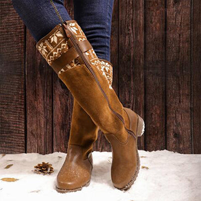 2019 autumn and winter round head European and American women's leather boots wool knight boots flat heel women's boots