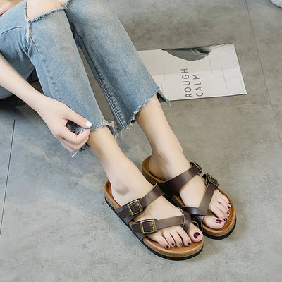 2019 fashion hot new soft wood beach slippers casual peep toe flat shoes