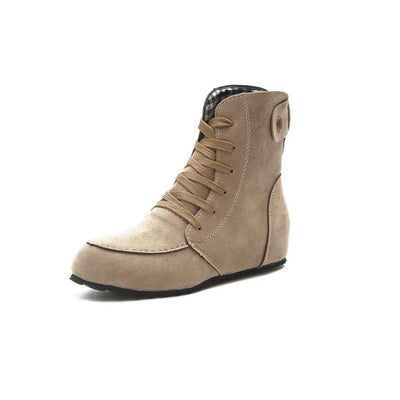 2019 autumn new solid color suede increased short barrel Martin boots