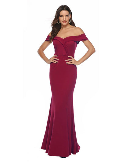 New V-neck split banquet dress