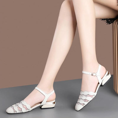 Elegant Grenadine Patchwork Pointed Toe Chunky Heel Leather Sandals