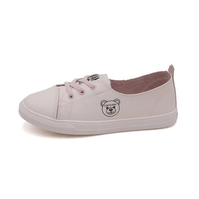 Breathable canvas leather white shoes