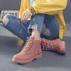 Winter fashion new thick heel front lace-up plus velvet Martin boots leather boots