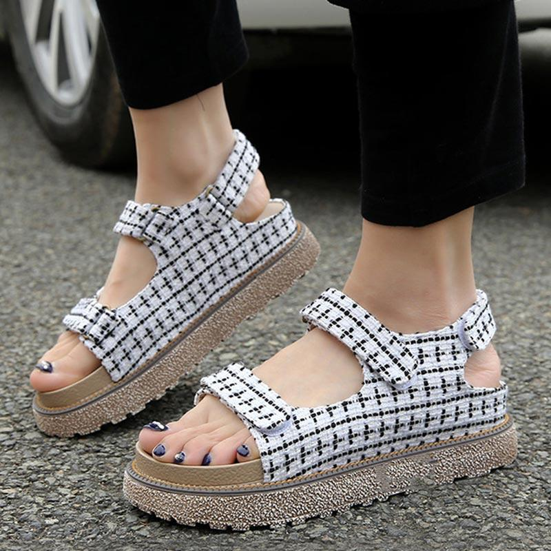 Euro-American Plaid Hollow Buckle Velcro Cloth Platform Large Size Sandals