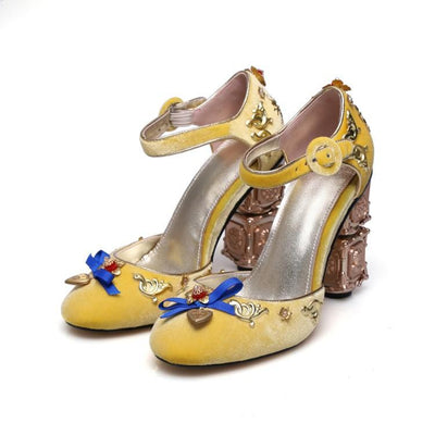 Fashion Bowknot Floral Dangle Inlay High Heels Chunky Heel Pleuche Sandals