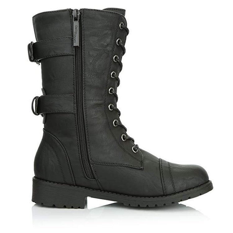 European and American new low-heel round toe pocket mid-tube Martin boots