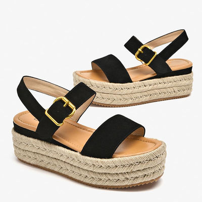 Casual Line Platform Pleuche Solid Color Hollow Ankle Strap Sandals