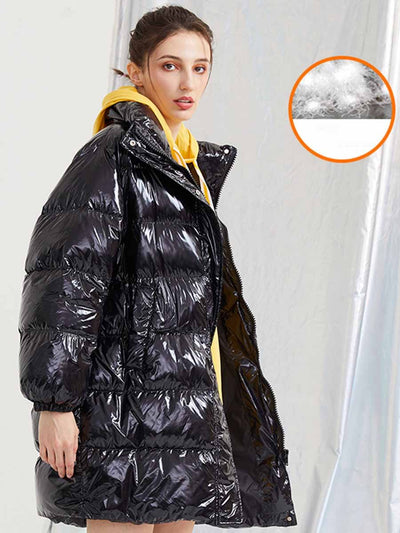2019 winter down jacket female long section bright thickening collar collar loose fashion jacket