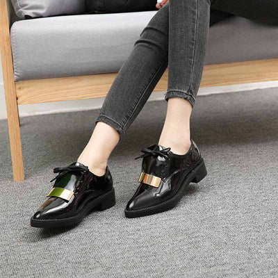 New British style pointed low heel fashion platform women's shoes