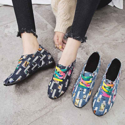 Flat casual wild student color matching shoes