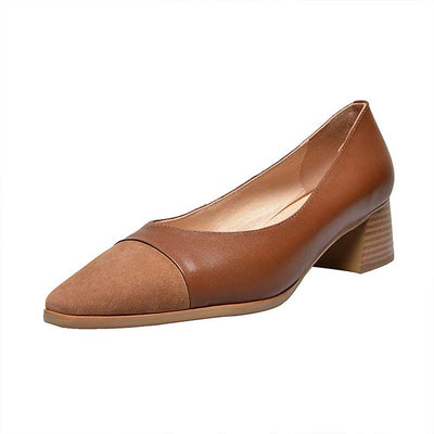 British wild leather square head shoes