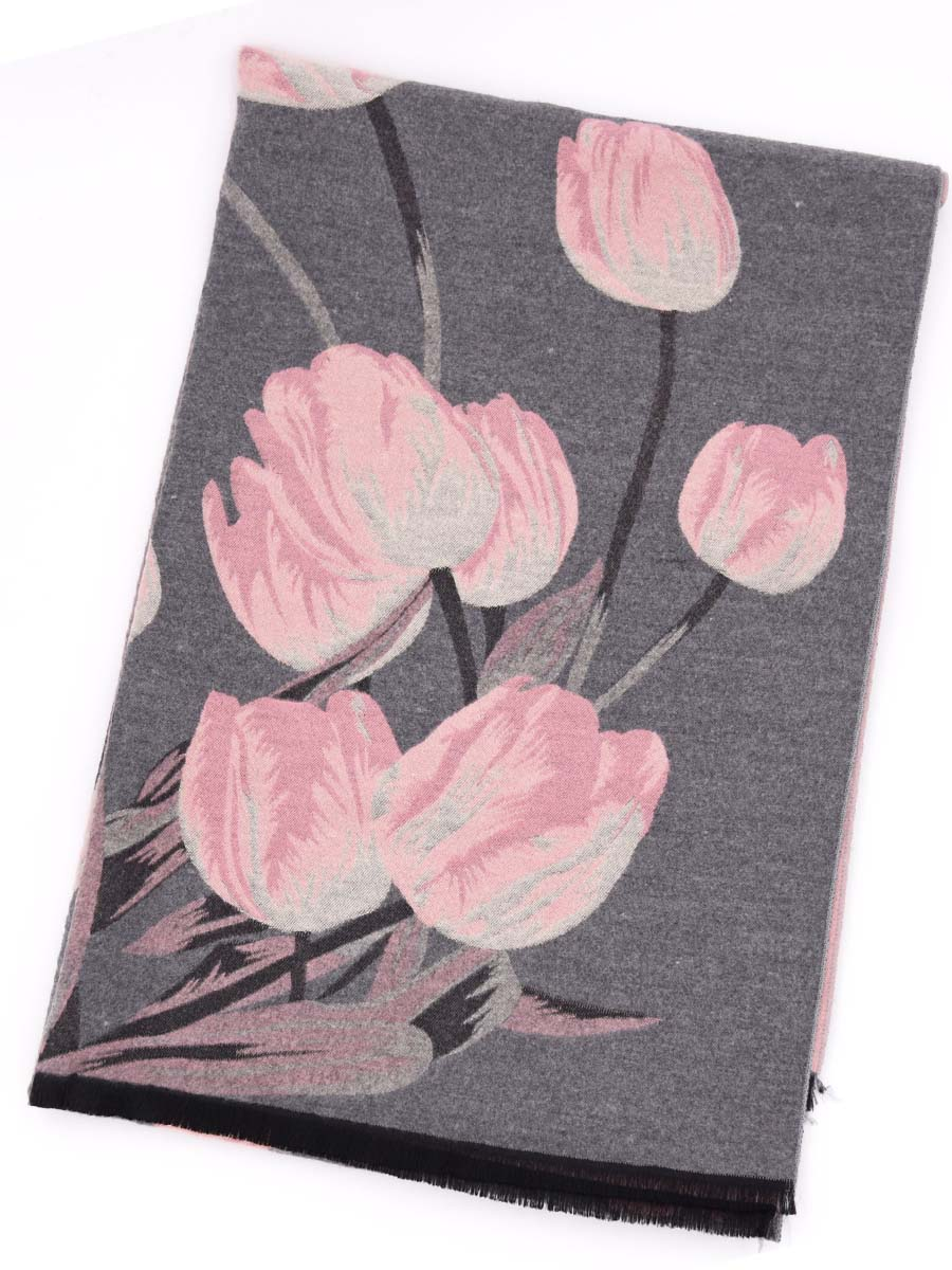 2019 autumn and winter new imitation cashmere scarf ladies thick warm double-sided dual-use fashion tulip flowers