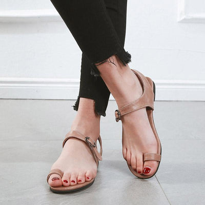 Simple Casual Buckle Strap Flat heel PU Sandals