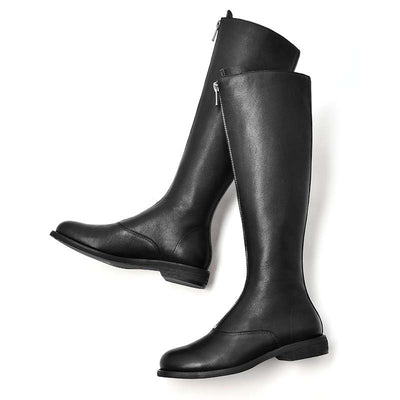 New long tube leather autumn and winter zipper flat leather boots
