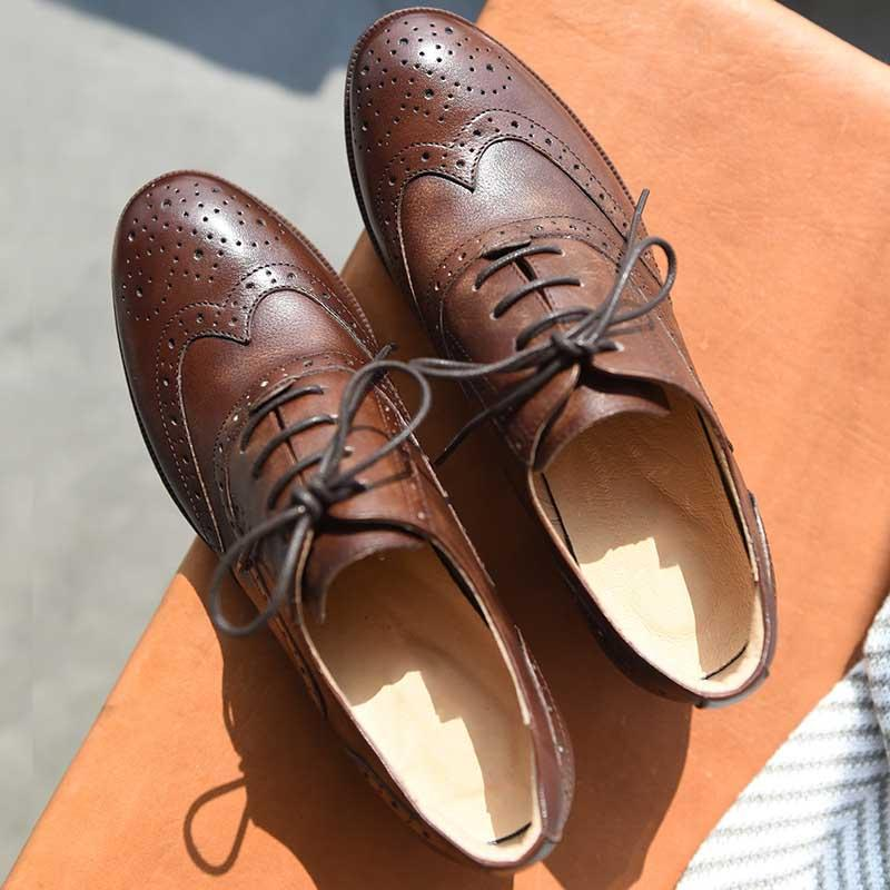 2019 new oxford shoes British college women's shoes laced with heel leather shoes retro round head small shoes