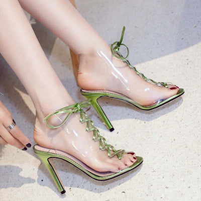 Cross strap high heel fish mouth female sandals