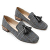 British style houndstooth cloth black and white single shoes