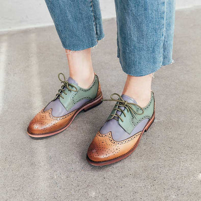 Shallow mouth vintage leather flat shoes