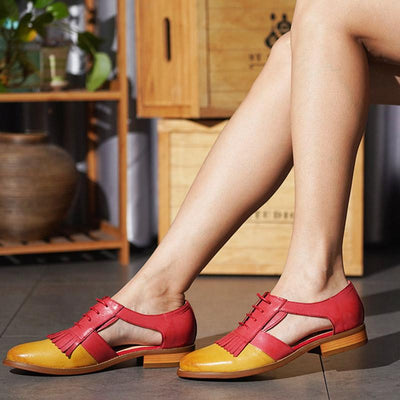 Vintage Style Color Block Tassel Lace-Up Leather Patchwork Loafers