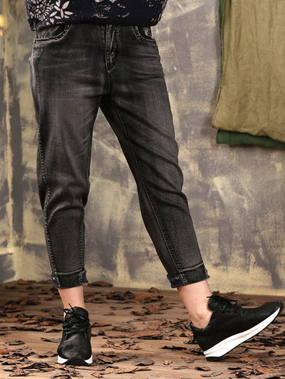 Pocket Plus Size Patchwork Ankle Length Slim Cotton Black Jeans