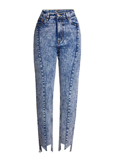 Snow Blue Color Asymmetric Pocket High-Waist Cotton Jeans