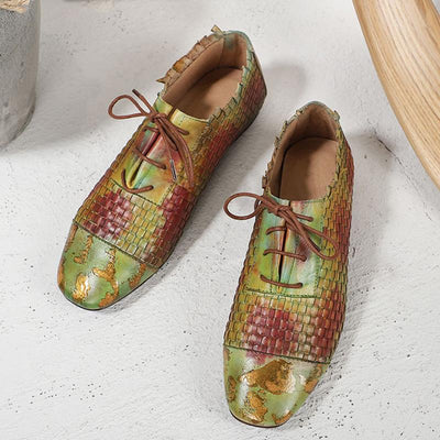 Ethic Vintage Cross Color Block Patchwork Lace-Up Low Heel Loafers