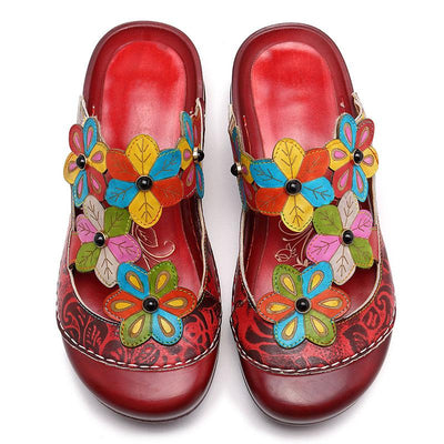 2020 spring and summer new mother shoes sandals retro flowers leather ethnic style Baotou slippers