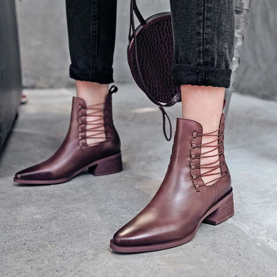 Vintage British style leather pointed thick heel hollow and bare ankle boots