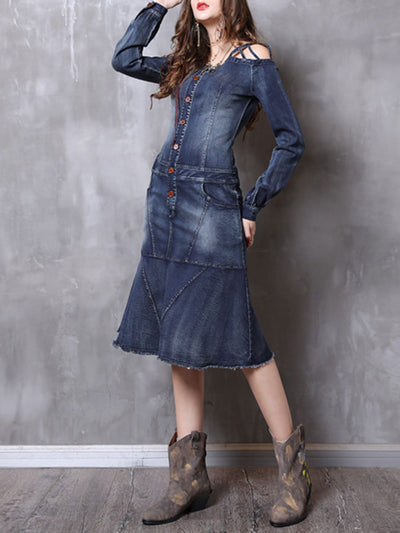 Cold Shoulder Buttons Pocket Long Sleeve Backless Ruffle Denim Dresses