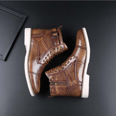 Autumn casual breathable leather lace-up men's Martin boots flat heel low-top leather shoes high-top men's shoes