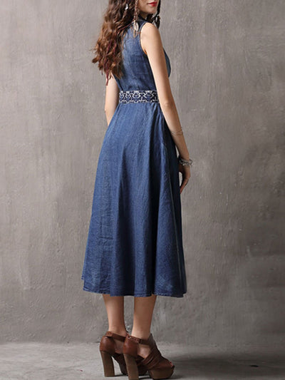 V-Neck Belt Embroidery Sleeveless Cardigan Buttons Denim Dresses