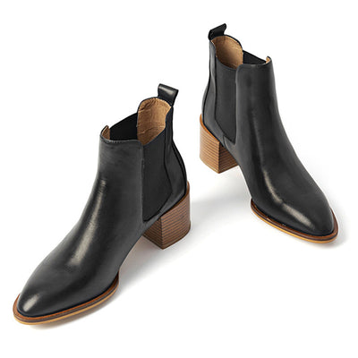 2019 New Boots Short Boots Leather Women's Shoes Wood Grain Heel Simple Women's Shoes Martin Boots