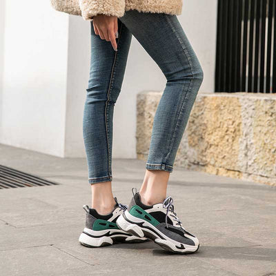2020 spring new velvet round toe thick bottom trend leather women's sneakers