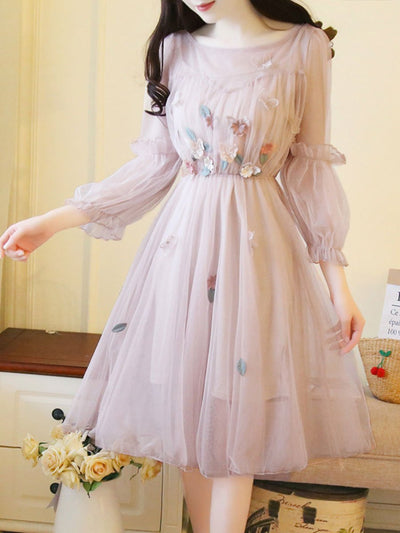 Sweet Solid Color See-Through Ruffle Embroidery Double Day Dresses
