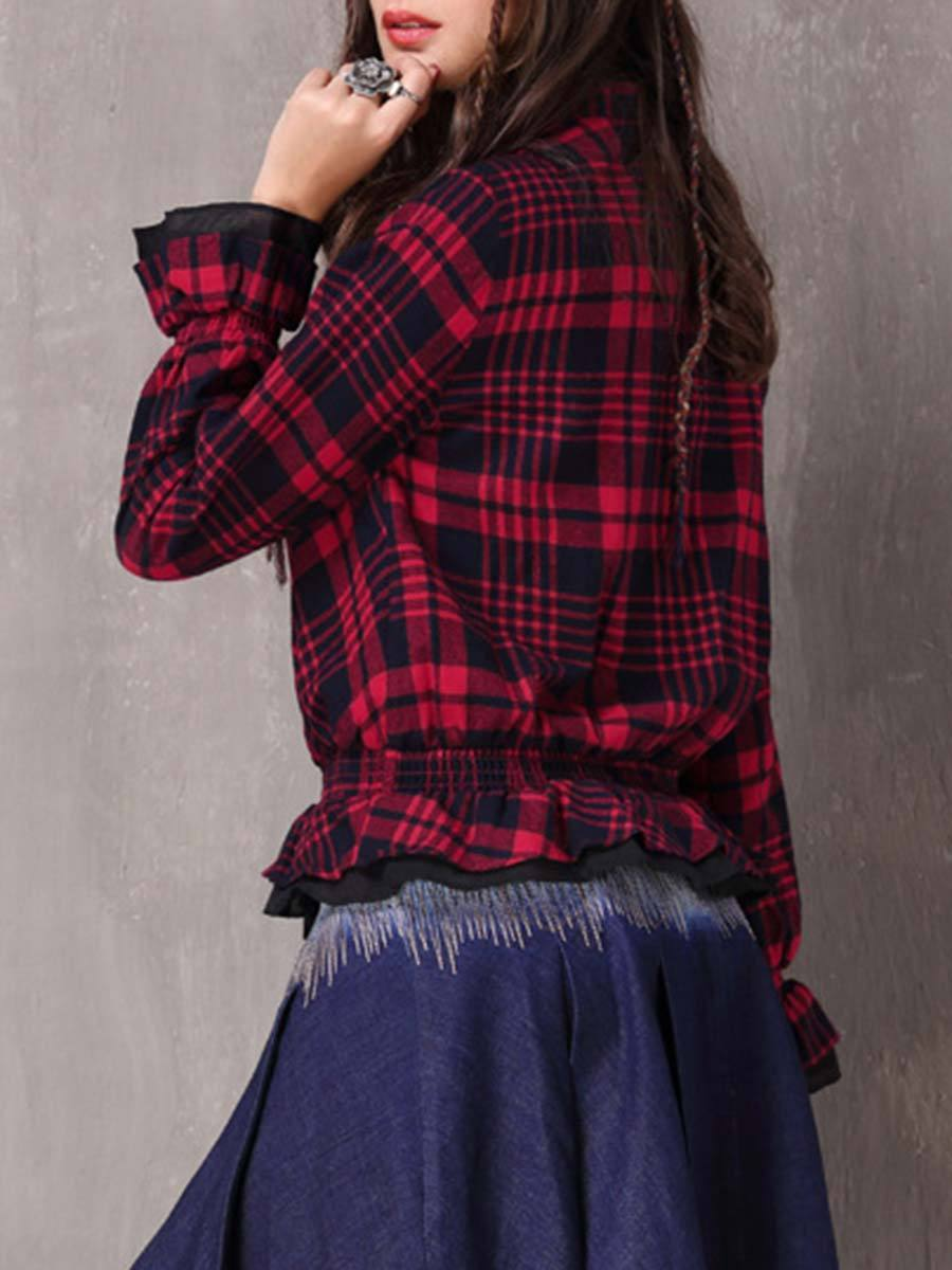 Ruffle Buttons Long Sleeve Stand Collar Plaid Pleated Cotton Blouses
