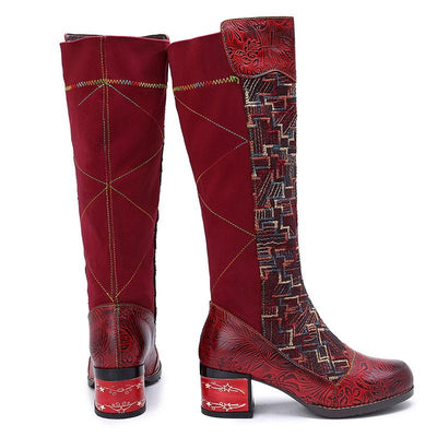 Chunky Heel Knee-High Geometric Pattern Leather Riding Boots