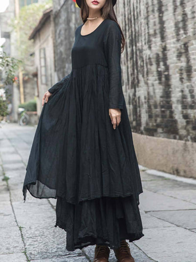 Casual Solid Color Pleated Patchwork Long Sleeve Big Hem Linen & Cotton Dresses