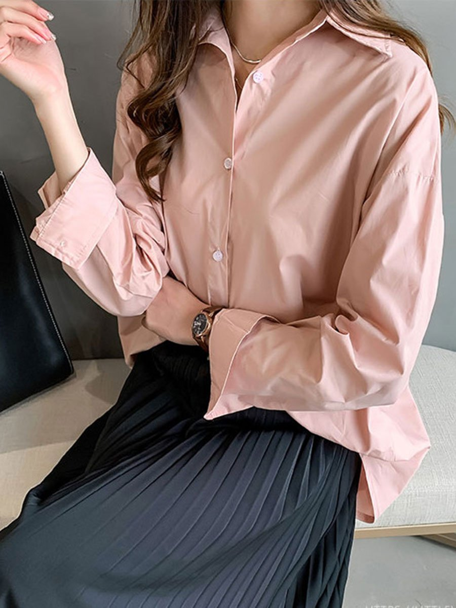 Solid Color Plus Size Turn Down Collar Long Sleeve Asymmetric Blouses