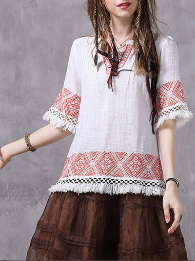 Vintage Tassel Embroidery V-Neck Half Sleeve Cotton Loose Blouses