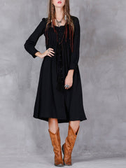 Round Neck Buttons Pleated Long Sleeve A-Line Linen & Cotton Dresses