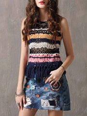 Color Block Hollow Tassel Stripes Round Neck Sleeveless Tanks & Crops