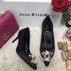 Rhinestone pearl silk stiletto shoes