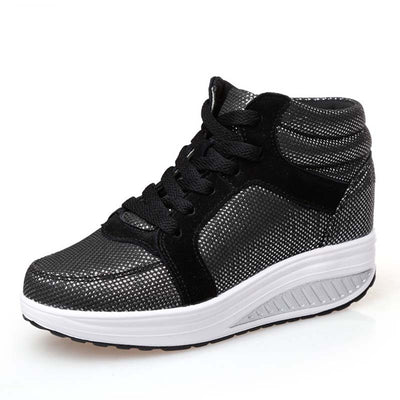 High-top wedge breathable sneakers